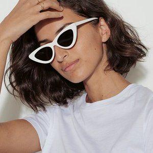 Adam Selman Le Spec Retro White Cat-Eye Sunglasses